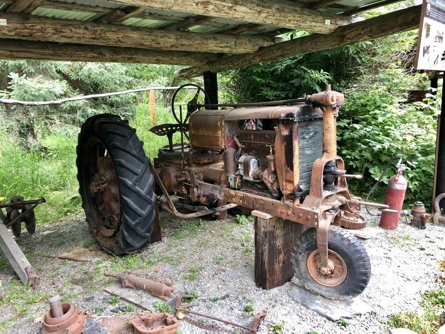 old tractor in hope alaska.
